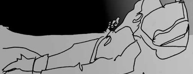 Friso Huellas Hermanas. Ilustración a pluma que muestra un hombre postrado en una cama de hospital
