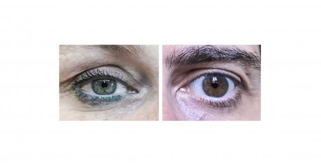 Imagen compuesta por la imagen de un ojo de una mujer y un ojo de un hombre formando una mirada